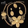 11.11 2017 Uinque Marca Grande Colar de Pingente de Forma Definida Dubai Africano Banhado A Ouro Beads Festa de Casamento Conjunto de Jóias
