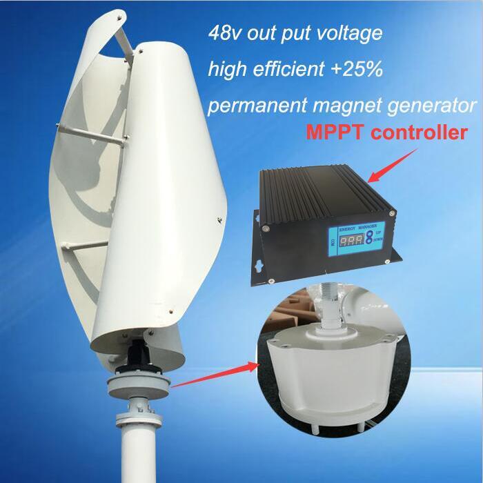 Vente chaude! pas cher éolienne à axe vertical générateur à aimant permanent trois phase 600 w 48 v axe vertical moulin à vent