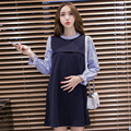 2016 Maternity Clothes Fall Fashion Dress Large Size Small Collar False Two-piece Set Pregnant Women Can Lactation Dress