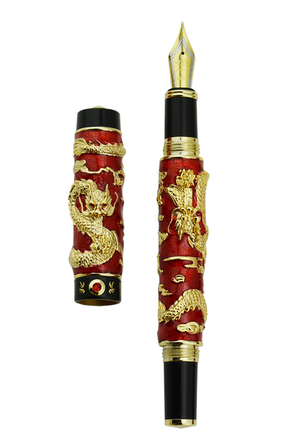 Jinhao Blue Cloisonne Double Dragon Fountain Pen Iridium Medium Nib Advanced Craft Writing Gift Pen for Business Graduate Office
