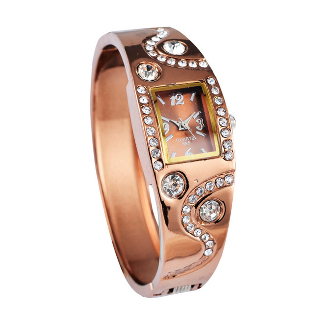 Hot Sale Luxury Rhinestone Elegant Wristwatches Rose Gold Bracelet Watch Women W