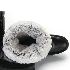 Image 5 - أسود أحذية عالية النساء الشتاء حذاء الثلوج الانزلاق على لا سستة إيفا مع المطاط وحيد لينة الاصطناعية الأرنب الفراء مقاومة للماء العلوي