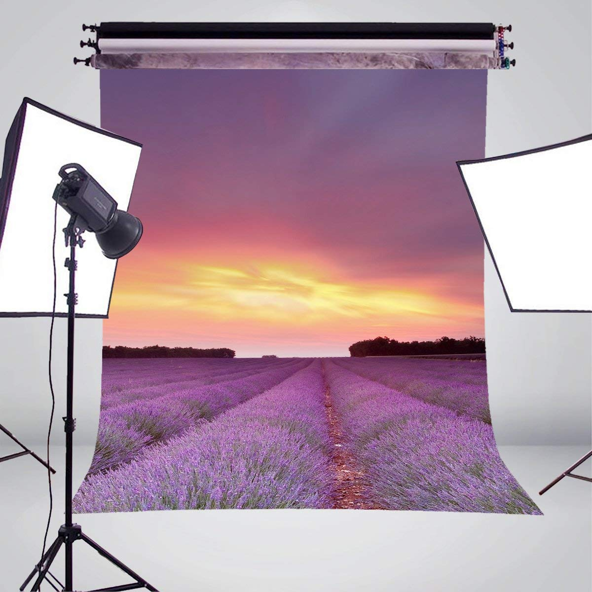 Lavandula Fields Sky Clouds Flowers Photography Background Sunset Sunrise Backdrop Studio Props Wall 150x220cm in Photo Studio Accessories from Consumer Electronics