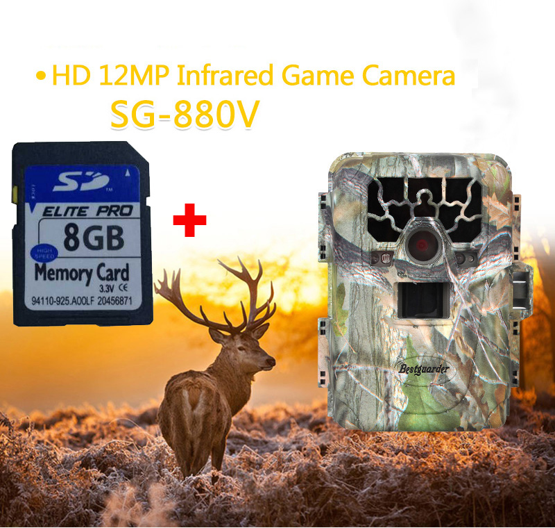 Bestguarder SG-880V Trail Camera No Glow 12MP Mini Infrared Digital Wildlife Hunting Camera Outdoor DVR Photo Trap 8GB SD Card bestguarder sy 007 360 degree wireless hunting trail