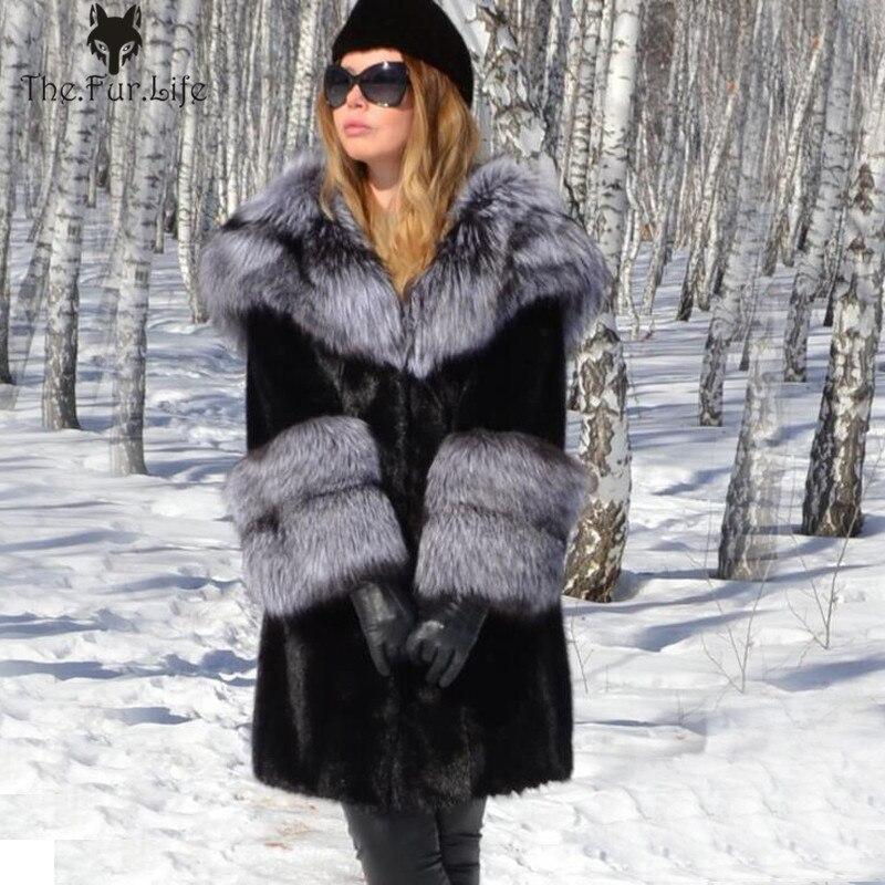 Новая стильная шуба из натурального меха норки с капюшоном, Воротник из натурального меха лисы, теплые зимние женские куртки с рукавами из л...