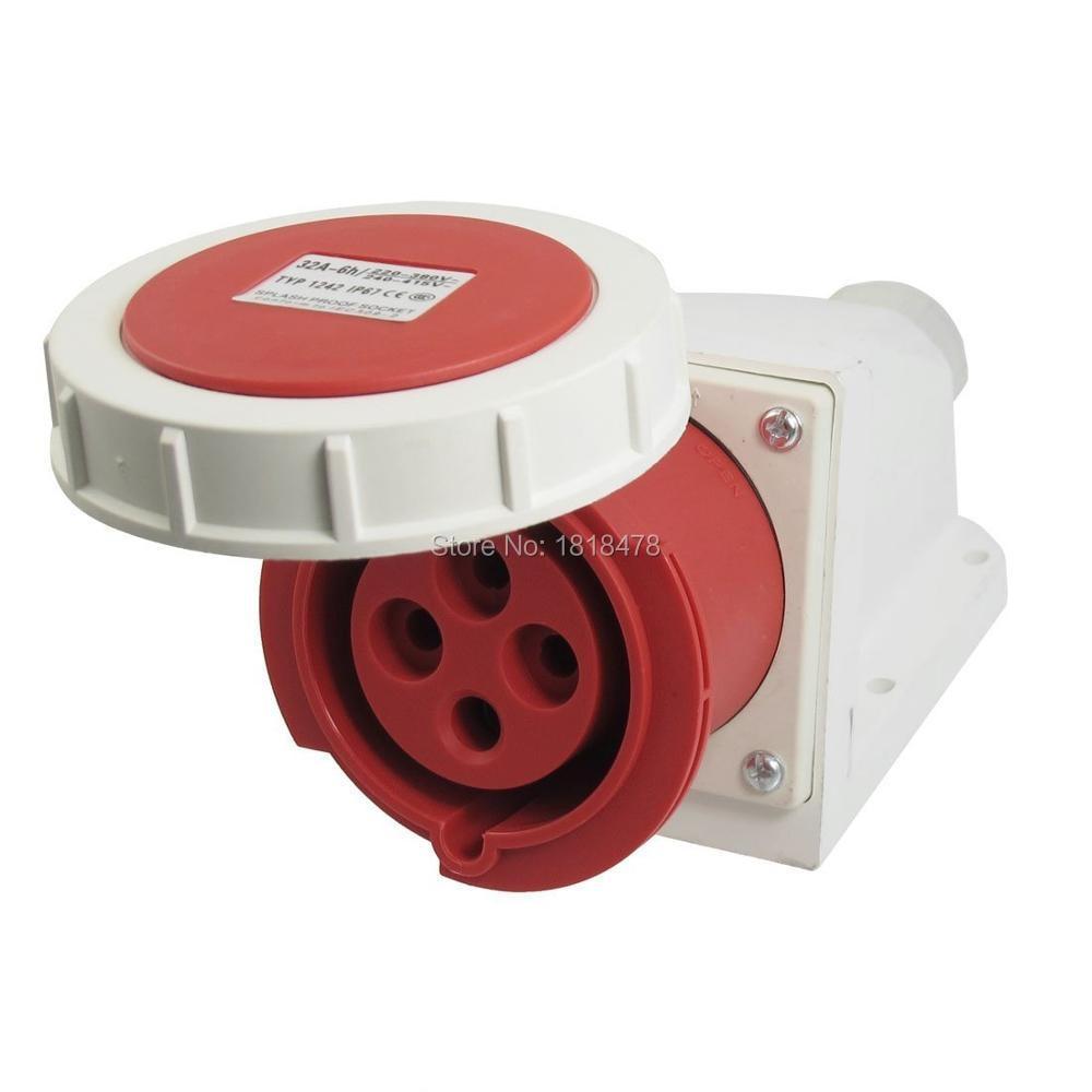 Water Proof IP67 32A 3P+E IEC309-2 Industrial Socket AC 220-380V/240-415V ac 380 415v 16a red white waterproof 3p e iec309 2 socket for industrial