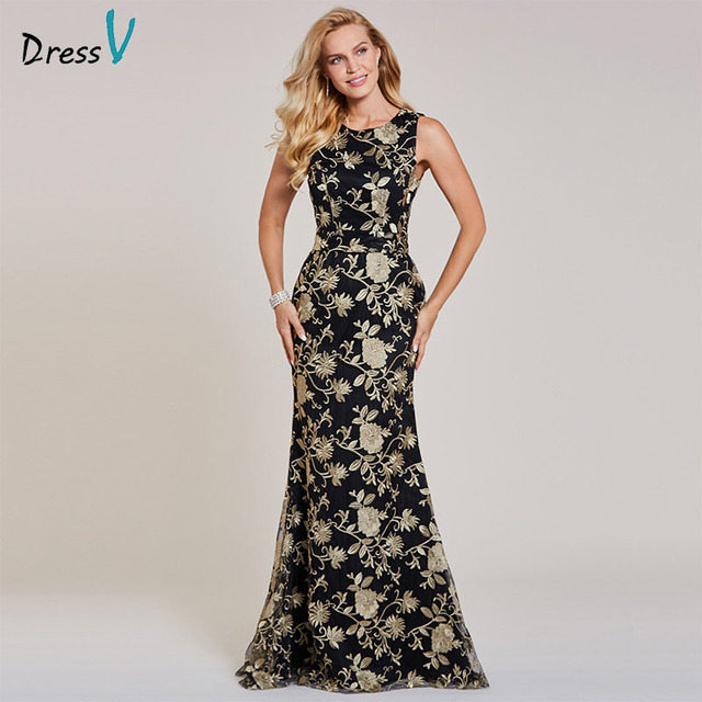 Dressv pescoço da colher mangas sereia preto longo vestido de noite barato casamento vestido de festa formal vestidos de noite bordados