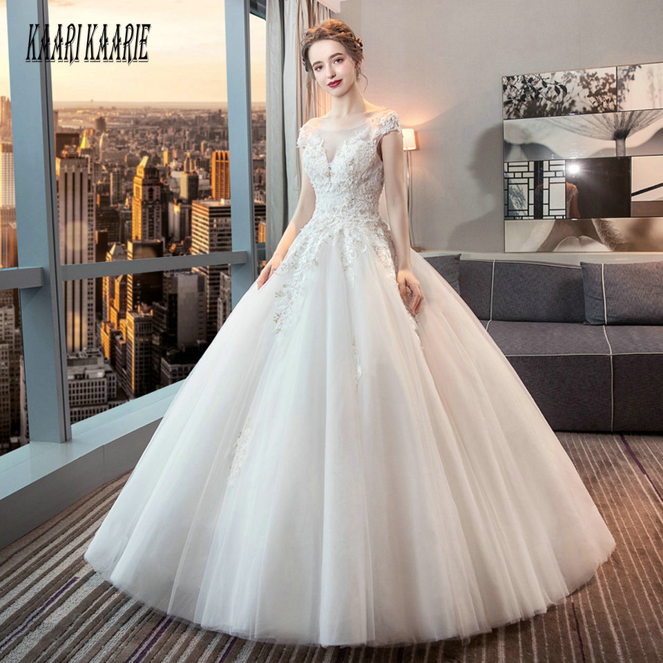 Luxury White Wedding Gowns For Women 2019 Wedding Dress Ivory Long Scoop Tulle Appliques Beading Lace