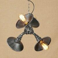Vintage Iron Geschilderd Hanglamp LED 3 Lamp Hanglamp armatuur E27 110 V 220 V Voor Keuken Lichten Studie Bed Room Restaurant