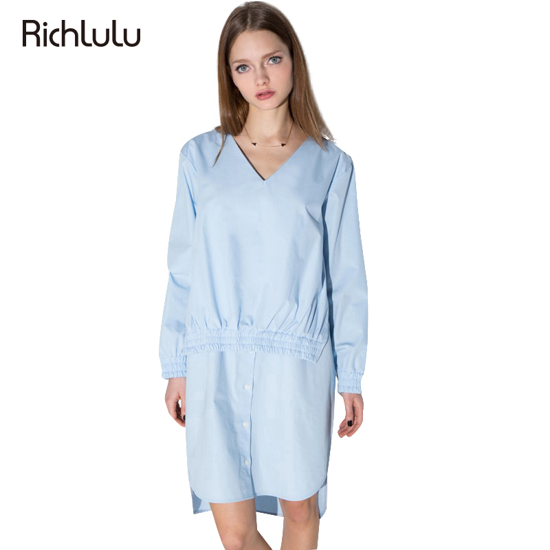 RichLuLu Blue Cute Ruched Mini Dress Women Clothing Casual Loose Chic Female Vestido Contrast Office Spring Mini Dresses