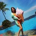 90 CM tamanho grande sorvete brinquedos infláveis bolas de piscina flutuante com jogos de partido praia bomba de água brinquedo sorvete Kickboard anel da nadada