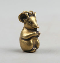 34MM/1.3 Collect Curio Rare China Fengshui Small Bronze Exquisite Animal 12 Zodiac Year Mouse Money Wealth Pendant Statue 19g