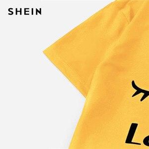 Image 2 - שיין ג ינג ר גרפי טי מצויץ פסים מכנסי פיג מה עבור נשים עגול צוואר קצר שרוול 2019 קיץ פיג מה סטי NightWear