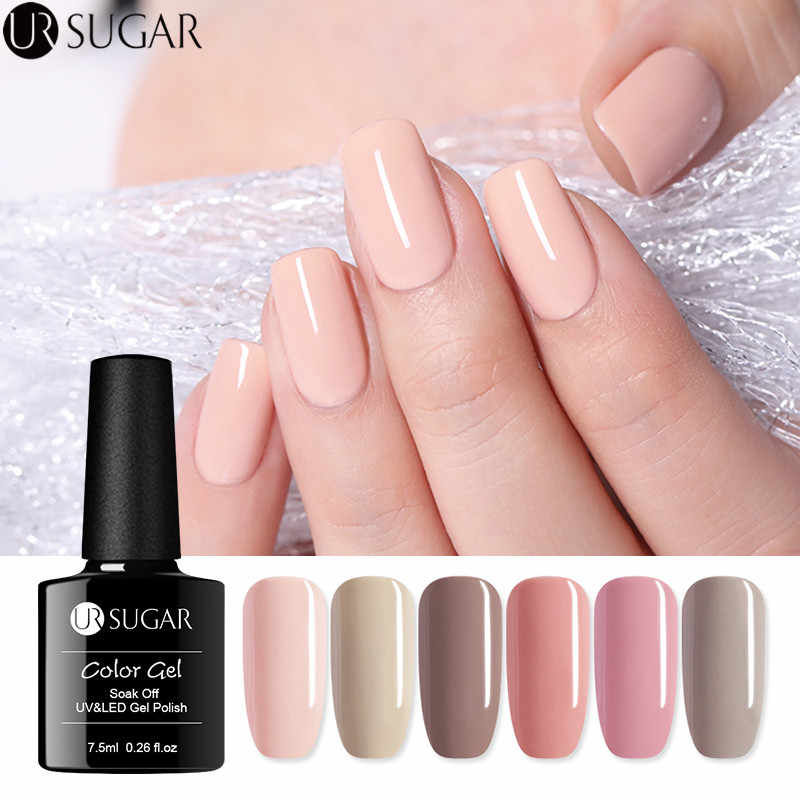 UR AÇÚCAR Cor Nude 7.5 ml Gel Unha Polonês Puro Cor Verniz Gel Soak Off Gel UV Verniz Semi- permanente Da Arte Do Prego UV Gel LEVOU