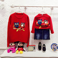 Marca de moda del estilo de juego de madre e hija suéter suéteres del muchacho del bebé búhos otoño de la rebeca mum & me trajes