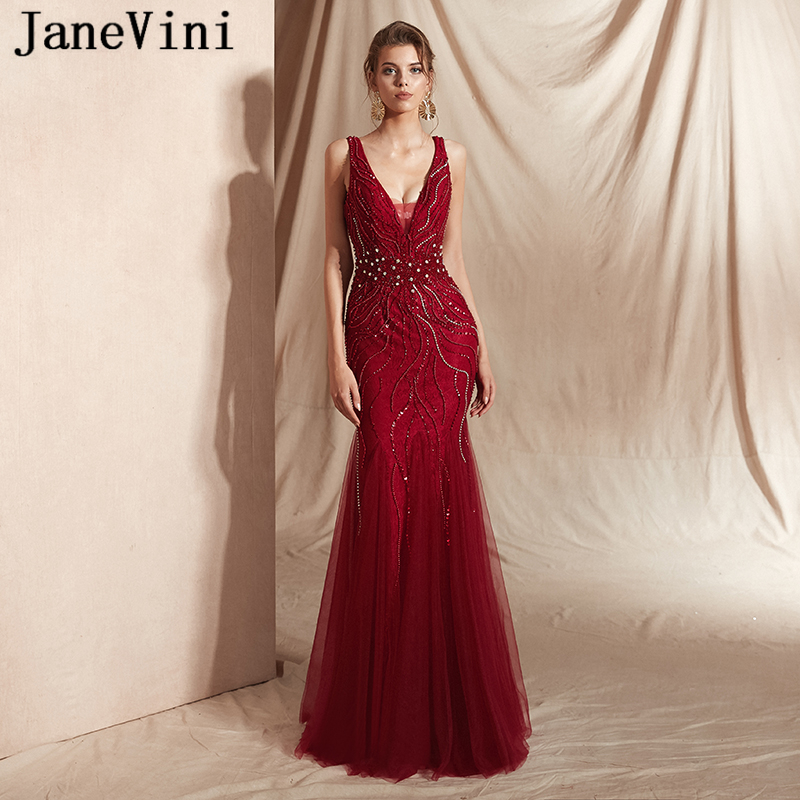JaneVini New Fashion Luxury Burgundy Lace Beading Mermaid   Prom     Dresses   Sexy Deep V Neck Backless Long Formal   Dress   Custom Made