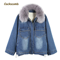 Detachable faux fur collar denim jacket women sides split loose fit oversize faux lamb fur lining warm 2017 winter parka coats