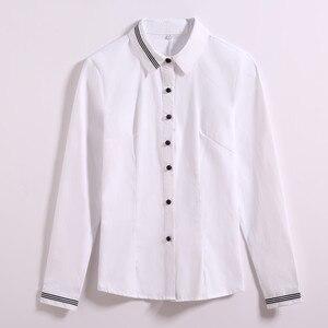 Image 4 - אופנה נשים בגדי כותנה ארוך שרוול חולצה חדש סתיו שחור Slim חולצה משרד גבירותיי עסקי בתוספת גודל חולצות רשמיות