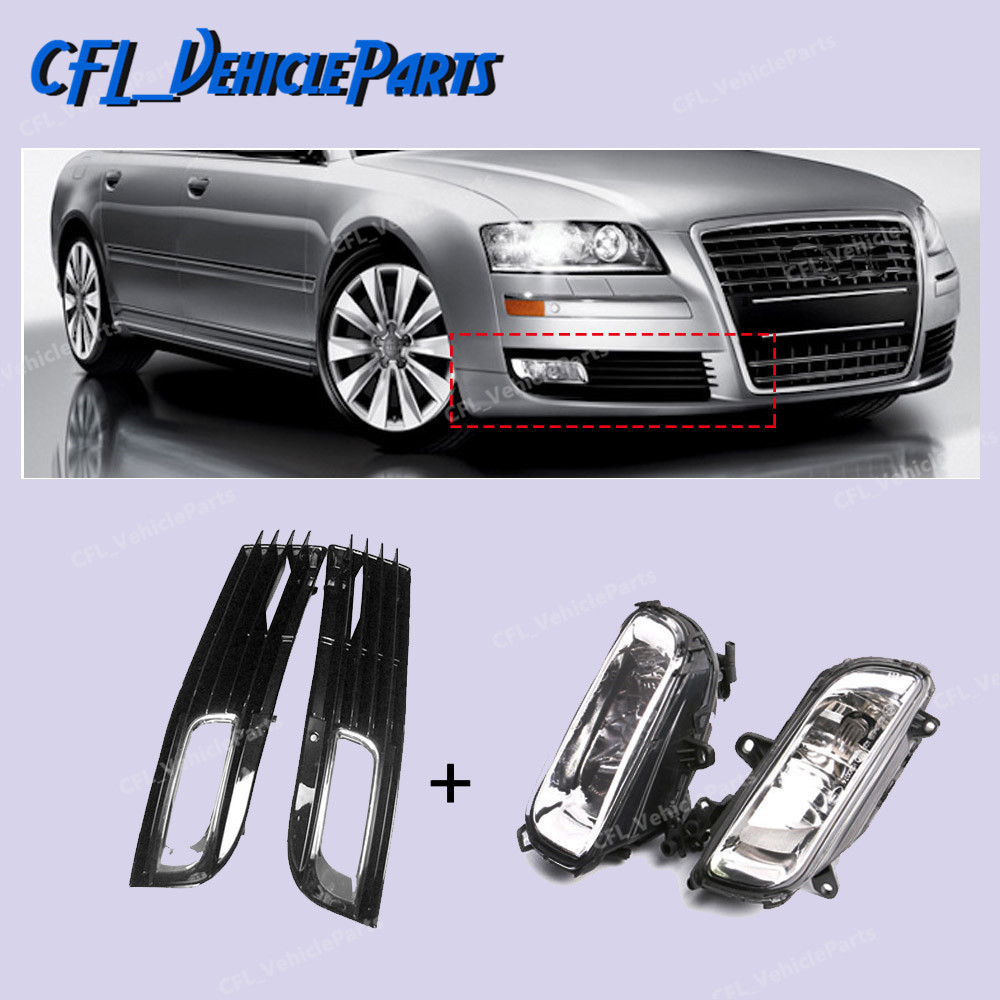 x4 Set Halogen Fog Lights Front Bumper Grille Cover 4E0941699B 4E0941700B For Audi A8 QUATTRO A8