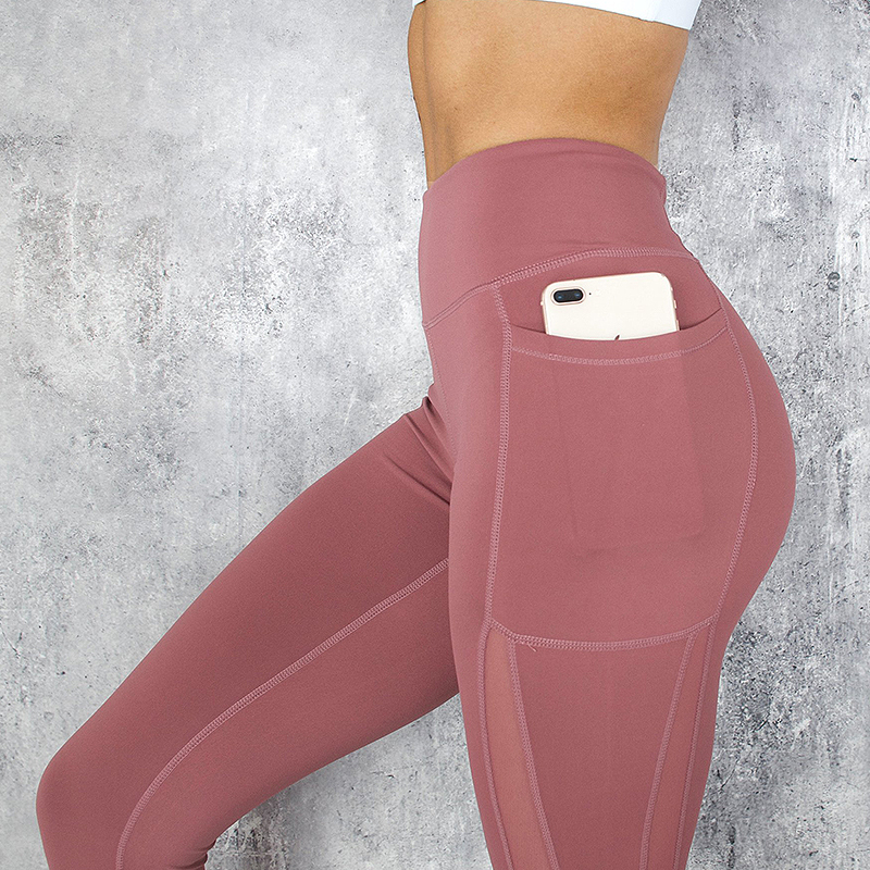 2018 Women Fitness   Leggings   Push Up Sports Pants with Big Pocket Side See Through   Leggings   Push Up Mesh Patchwork Pink Black