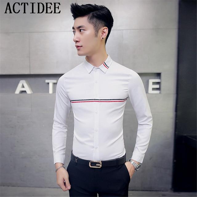 2017 Spring Autumn New Men Shirt Ribbon Decoration Long Sleeve Casual Business Dress Shirts Men Plus Size 3XL 4XL 5XL 5Z