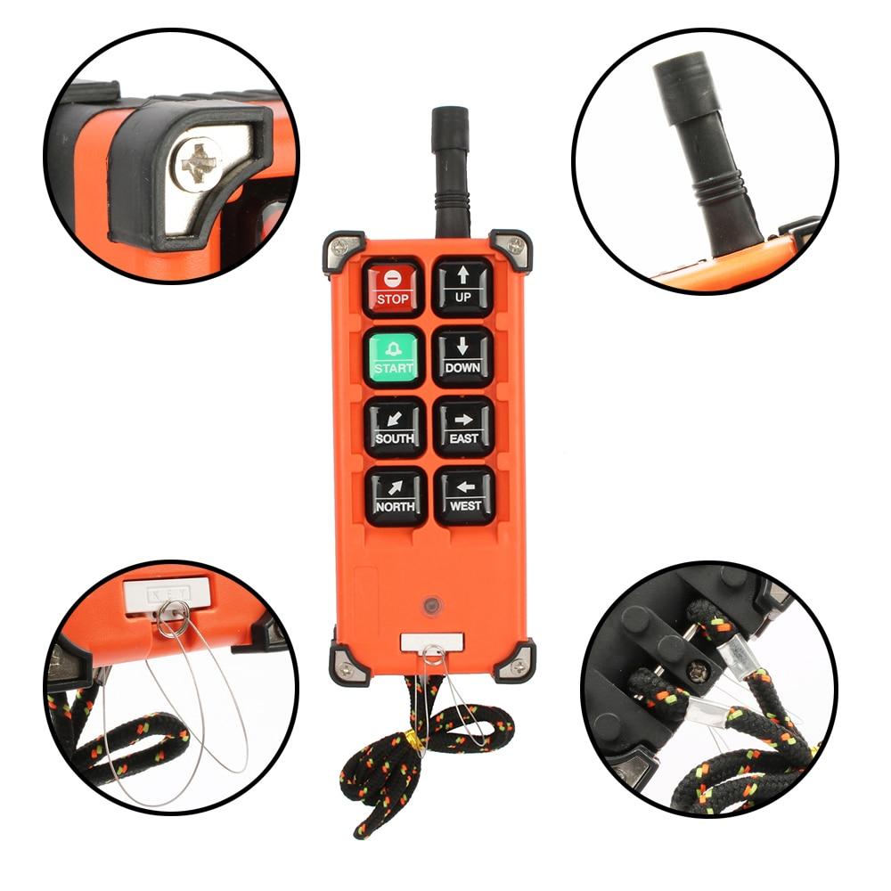 DIANQI Industrial control remoto de grúa de interruptor de botón de empuje con 8 Botones 1 RECEPTOR + 1 transmisor para camión polipasto crane - 2