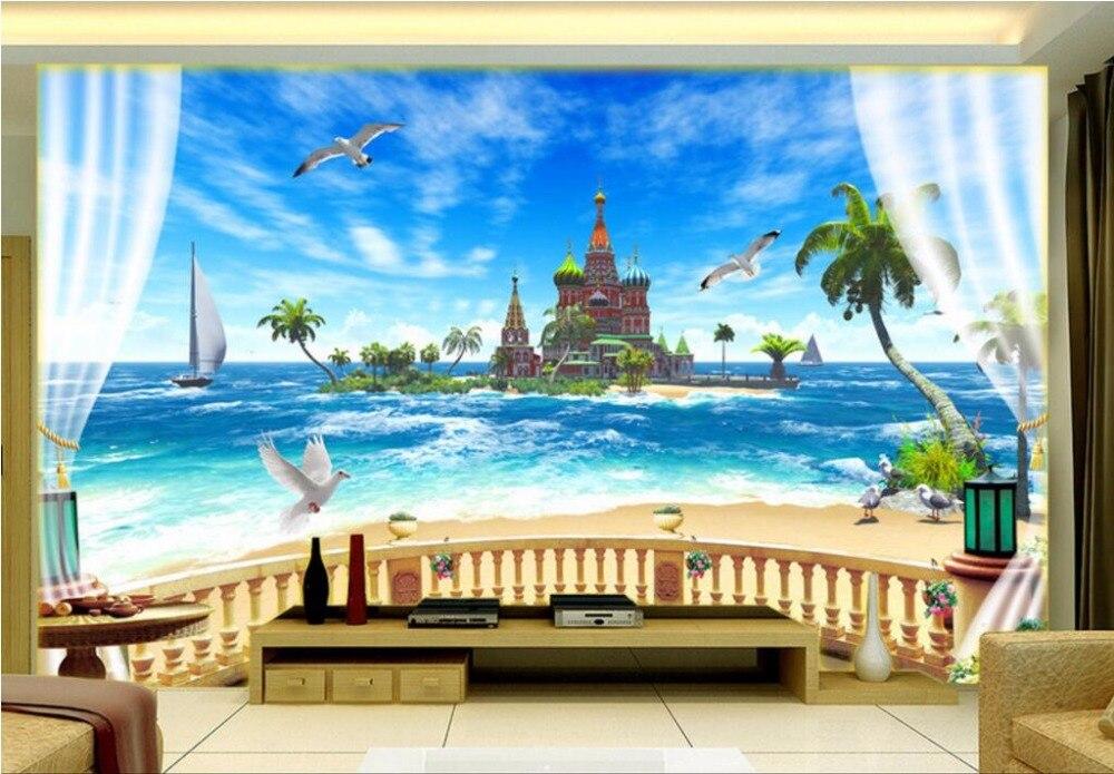Custom 3 D Photo Wallpaper Wall Murals 3d Wallpaper Beach: 3d Wallpapers For Living Room Beach Landscape Balcony