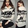 ChenaWolry 1PC Women Long Sleeve Casual Black Horse White Shirt Chiffon Tops Blouse Hot Sales Attractive