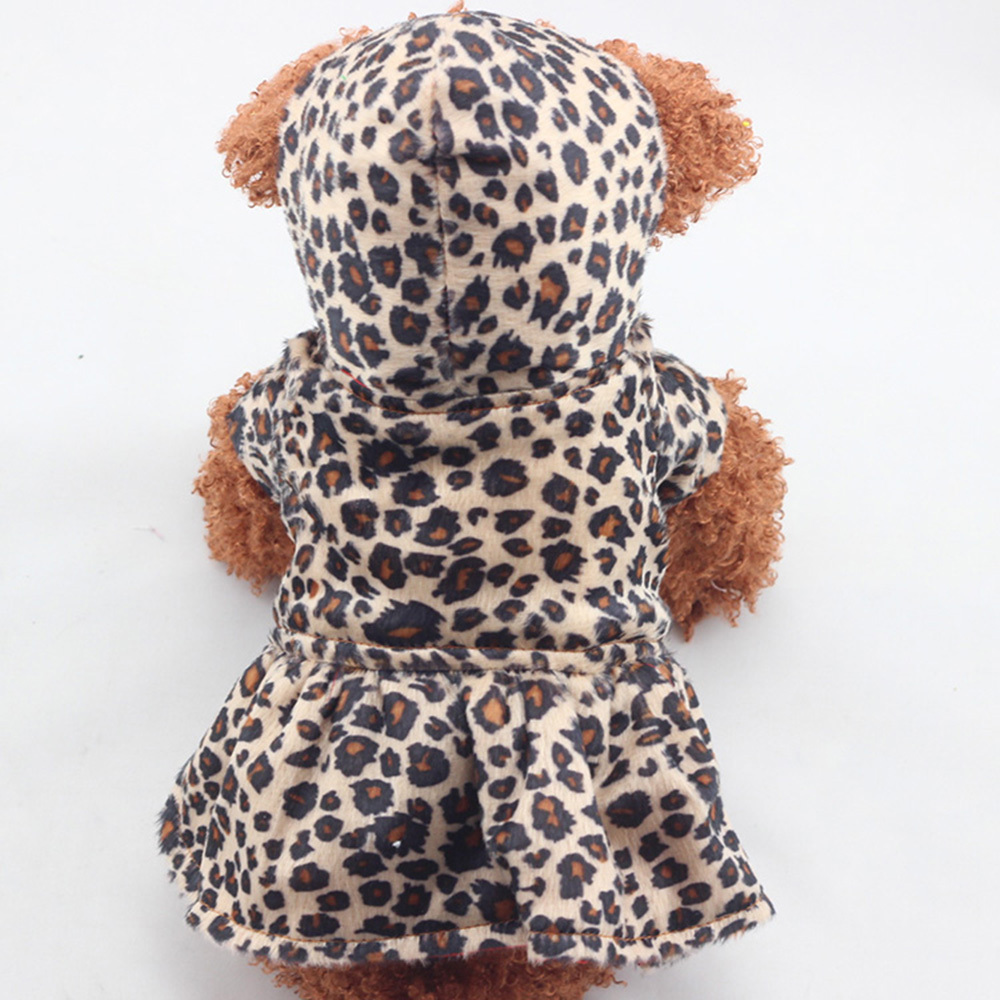 Winter Puppy Dog Clothes Cute Pet Dogs Leopard Costume Tops Cotton Hoodie Clothes Warm Dog Coats