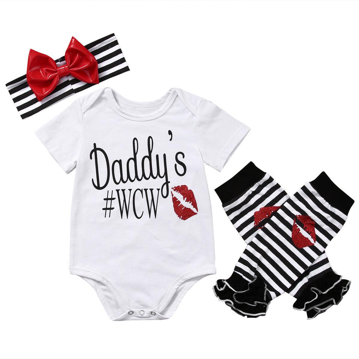 3pcs baby set newborn baby girl clothes short sleeve letter bodysuit+cotton striped leg warmer+bow headband baby girl romper