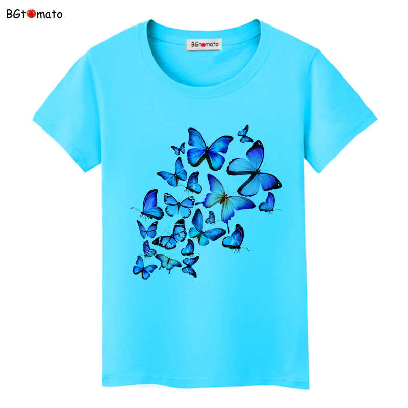 BGtomato A group of blue butterfly T-shirts women beautiful summer cool clothes Hot sale Good quality casual tees brand tops