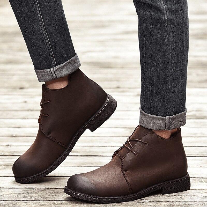 Bottes en cuir véritable Vintage britannique hommes bottes en cuir marron Martin pour homme automne hiver bottes de travail imperméables chaussures - 5