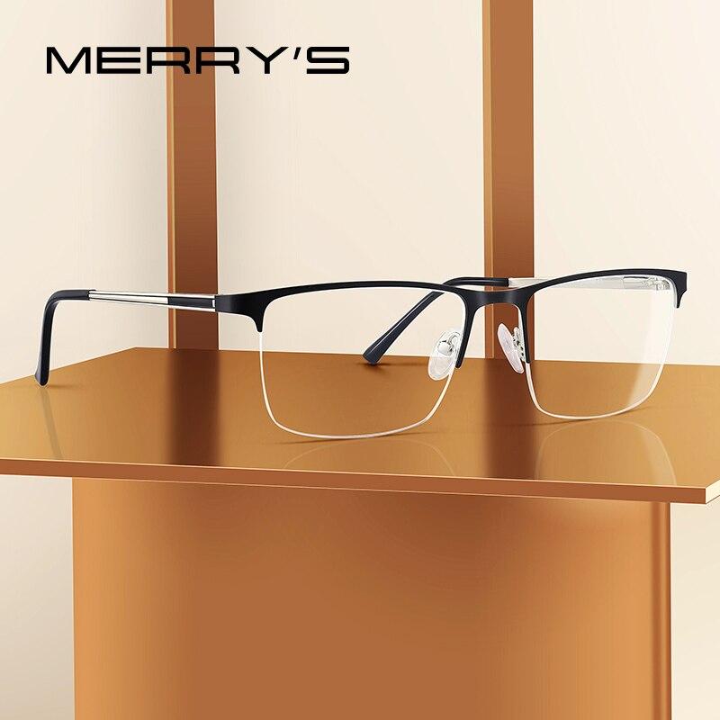 MERRYS DESIGN Men Titanium Glasses Frame Ultralight Square Eye Myopia Prescription Eyeglasses Male Half Optical Frame S2014