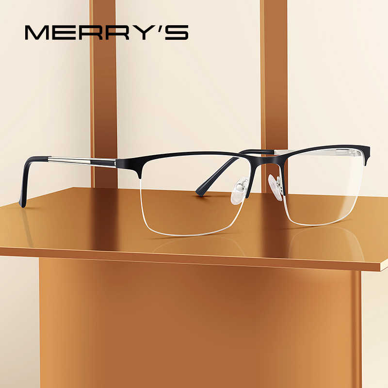 MERRYS DESIGN Men Titanium Glasses Frame Ultralight Square Eye Myopia Prescription Eyeglasses Male Half Optical Frame S2014