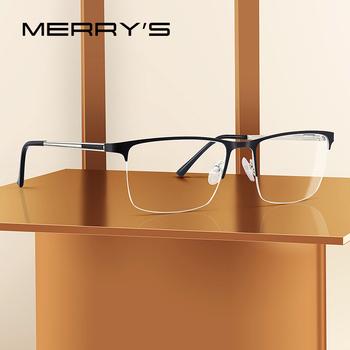 MERRYS DESIGN mężczyźni tytanowa ramka do okularów Ultralight kwadratowe oczka krótkowzroczność okulary korekcyjne męskie pół oprawki optyczne S2014 tanie i dobre opinie MERRY S Stop Stałe FRAMES Okulary akcesoria Rectangle 37mm 54mm