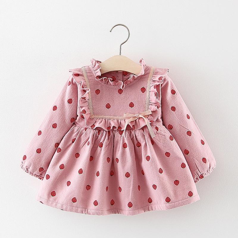 2019 Kids Girls New Winter Dress Clothing Baby Girls Cute Long Sleeve Lace Print Thick Warm Princess Dress 1-3 Years !