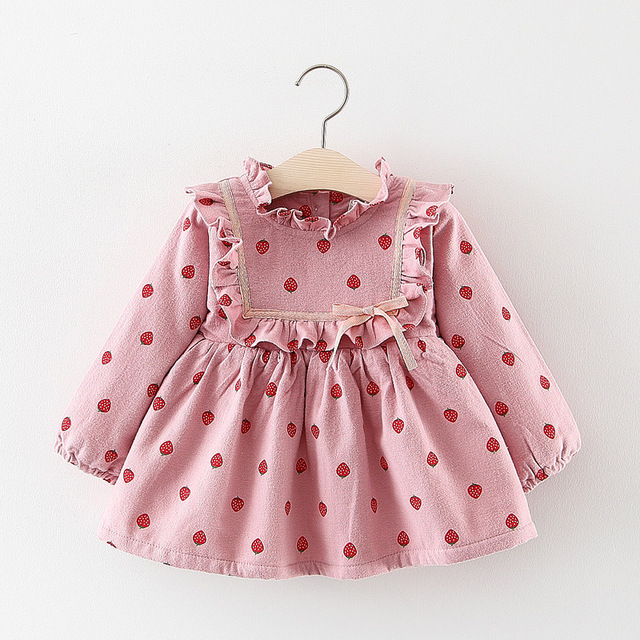 25c94503983 2018 Kids girls new winter dress clothing Baby girls cute long sleeve lace  print thick warm princess Dress 1-3 years !