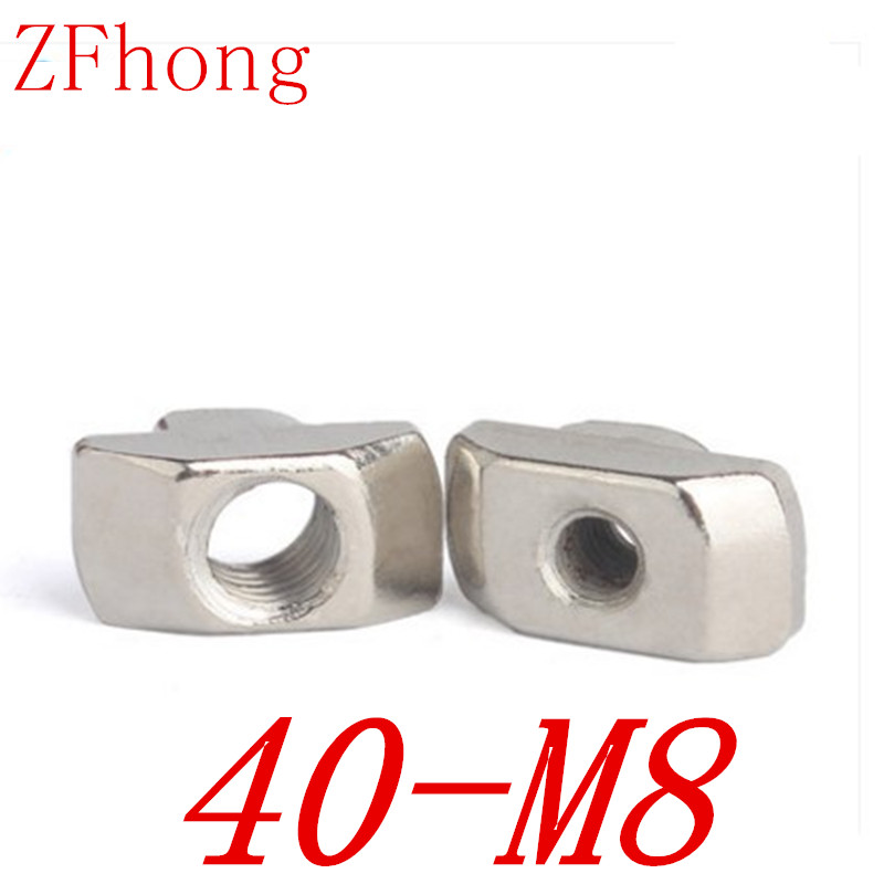 20PCS 40-m8 m8 T Hammer Nut Aluminum Connector T Fastener Nut Nickel Plated Carbon Steel for 4040 aluminum profile