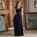 Vestido de Para mae da Noiva 2016 Champanhe Azul Marinho Noite vestido Longo Mãe da Noiva Vestidos de Chiffon Em Camadas de Cristal cinto