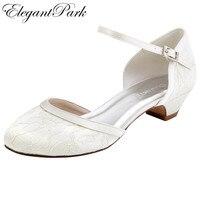Femme de mariée De Mariage Chaussures Basse Chuck Talon Blanc Ivoire Confort Bout rond Boucle Dame Mariée Dentelle Prom Party Robe Pompes HC1620