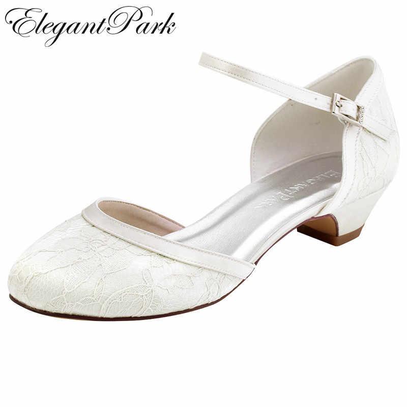 White Ivory Bridal Wedding Shoes For Bride Closed Toe Block Heel