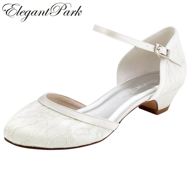 Women Shoes Wedding White Ivory Low Chuck Heel Comfort Round Toe Buckle Lady Bride Lace Prom Party Dress Bridal Pumps HC1620