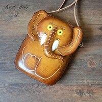 2018 new women messenger bag handmade genuine leather shoulder bag lovely cartoon elephant shoulder bag cowhide handbag
