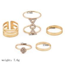 5 Pcs/set Bohemian Fashion Gold Geometric Punk Crystal Ring Set Ladies Party Wedding Jewelry Accessories Christmas Gifts