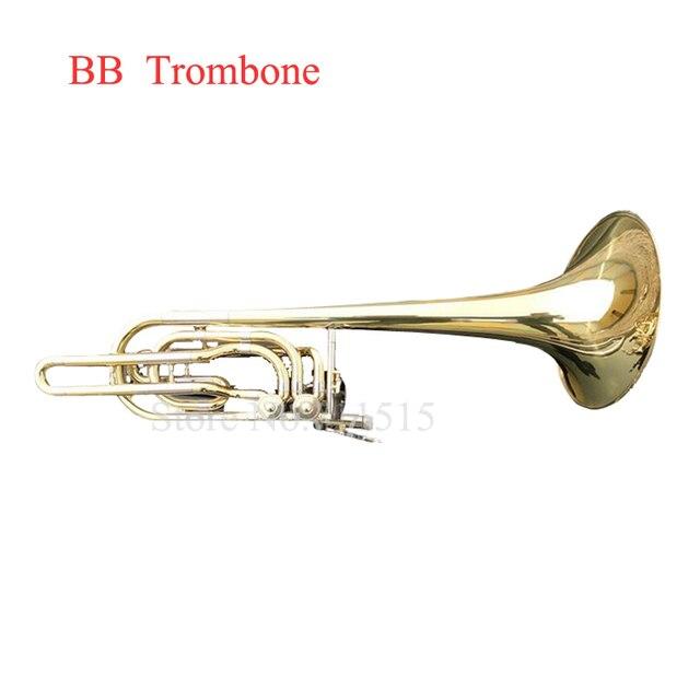 Cheap Bach 36 B Bass Trombone Bach Playing Classic Musical Instrument Double Piston BB Adjustable Gold Lacquer Brass Tenor Trombone