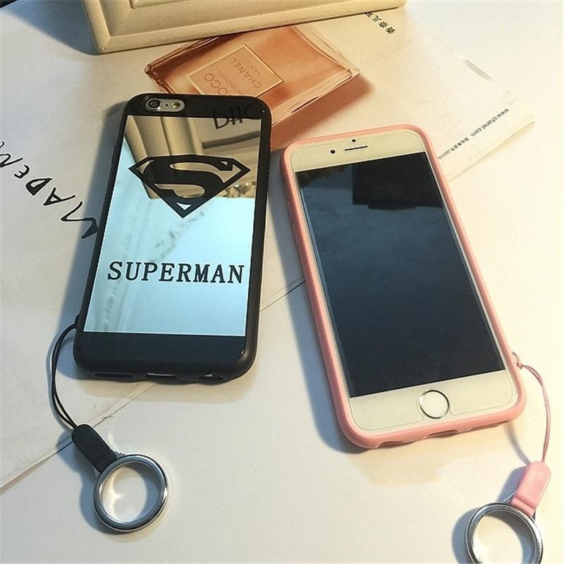 d2d9e9d5dbd00a couple mirror phone case For iPhone X 8 7 Plus Superman Superwoman Soft  Rubber Hang Rope