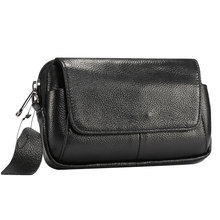 6.5 Inch Waist Packs Casual Mobile Phone Bag Fanny Pack Men Shoulder with Card Holder Genuine Leather 2 Colors