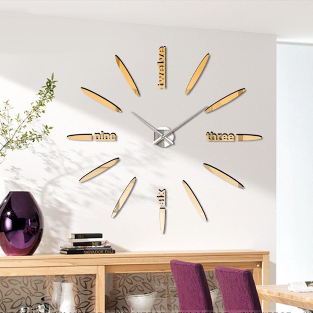 Gold special large diy quartz 3d wall clock Living Room big acrylic ...