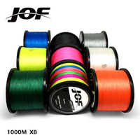 JOF PE 꼰 낚시 라인 Multifilament 흰색 낚시 코드 강한 8 가닥 1000M 낚시 라인