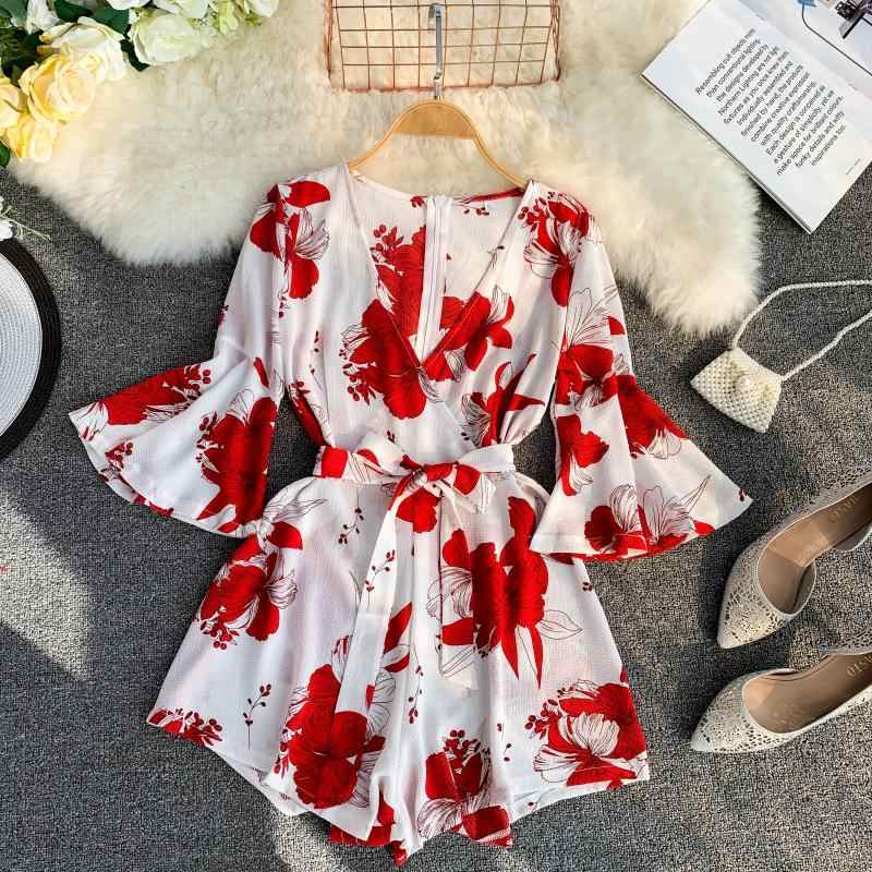 Vintage Red Printed Jumpsuits Women Slim V-neck Beach Playsuits Romper Summer Woman Girls Bohe Badage Chiffon Bodysuits